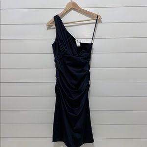 NWT - One Shoulder Rusched Satin Dress